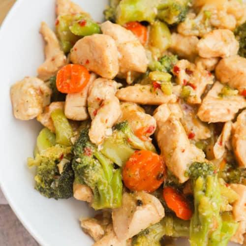 Honey Garlic Chicken and Veggie Skillet in a bowl