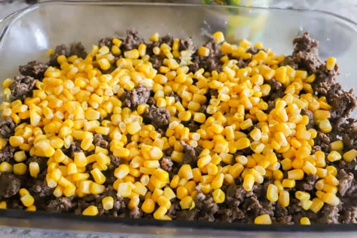 ground beef and corn layer