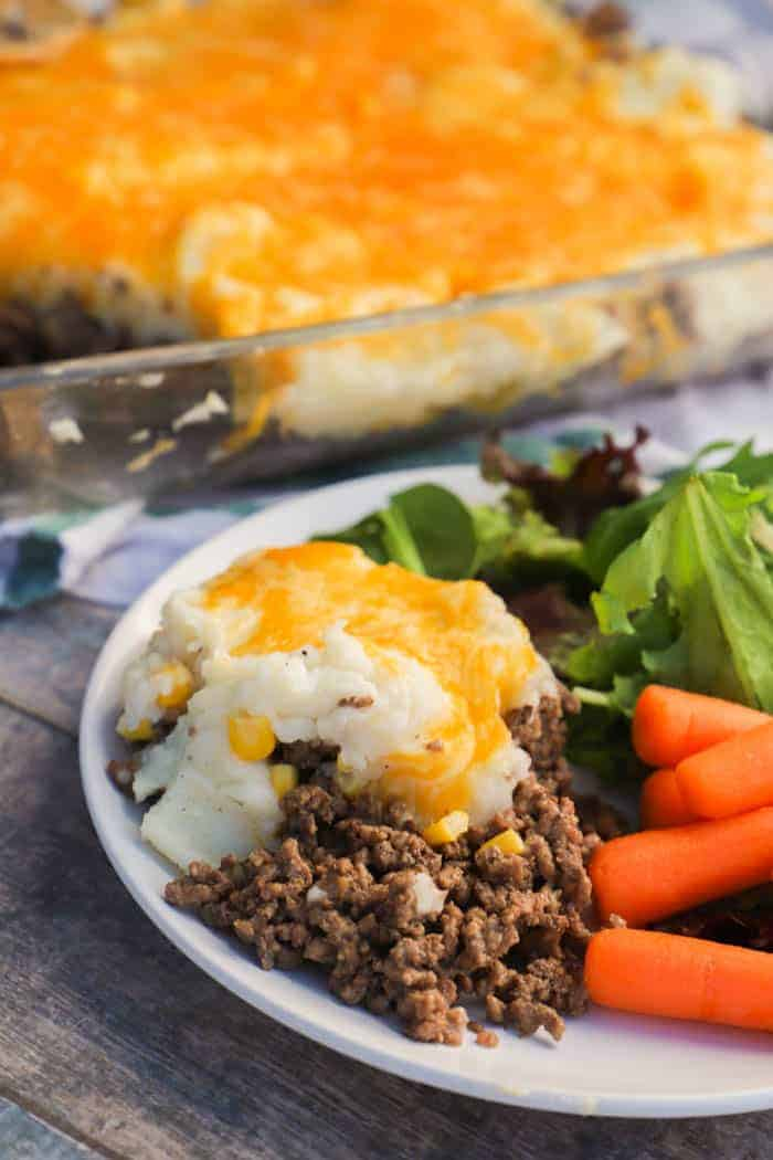 Shepherd's Pie on a plate with salad