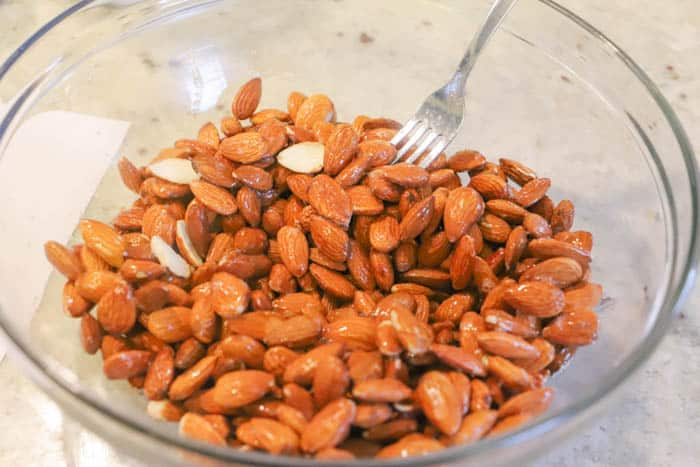 almonds in a bowl for mixing