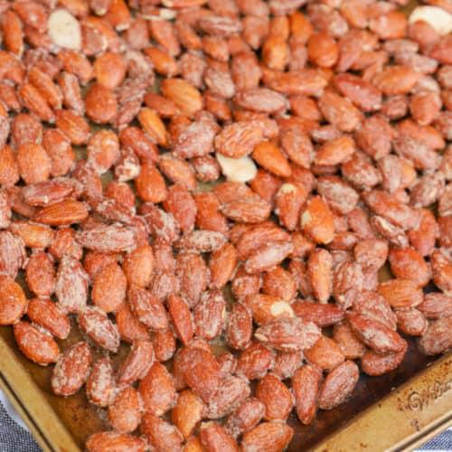 Cinnamon Roasted Almonds on a pan