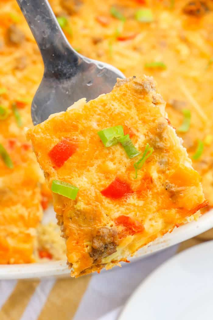 Make Ahead Breakfast Casserole on a spatula