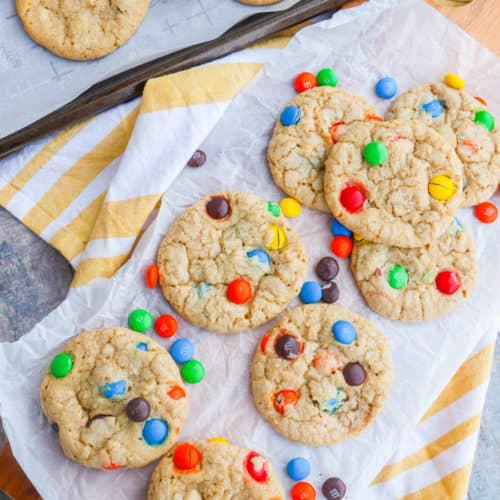 Oatmeal M&M Cookie on a cutting board