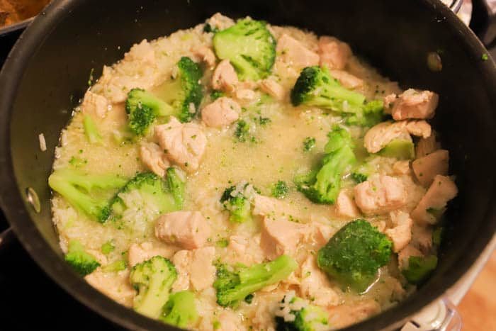 chicken and broccoli in the pot