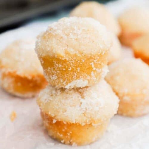 Sugar Donut Mini Muffins stacking on top of each other