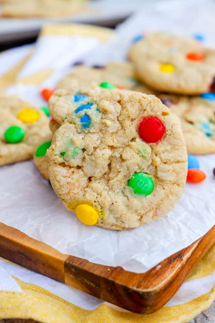 Oatmeal M&M Cookie close up