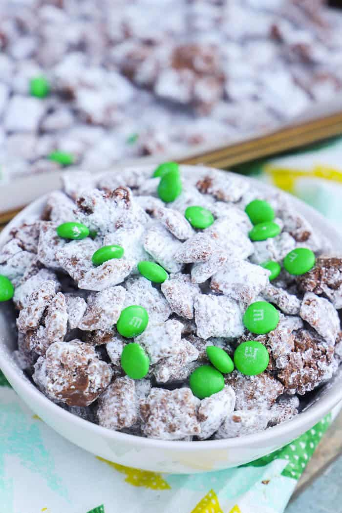 Mint Chocolate Puppy Chow in a white bowl
