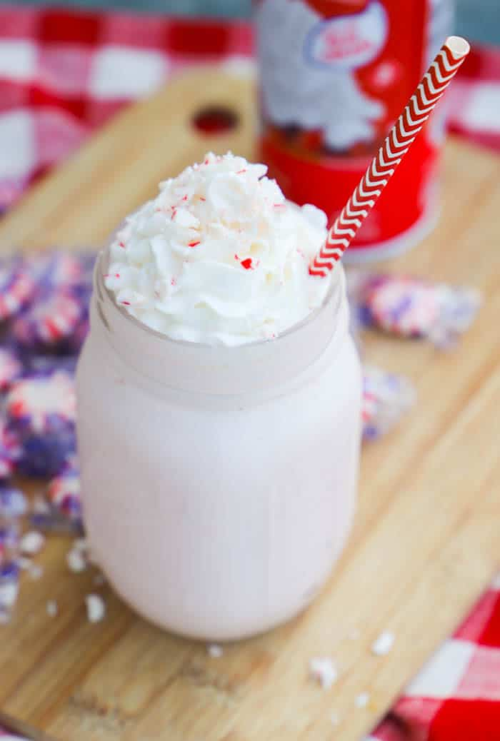Peppermint Milkshake with whipped cream and peppermint