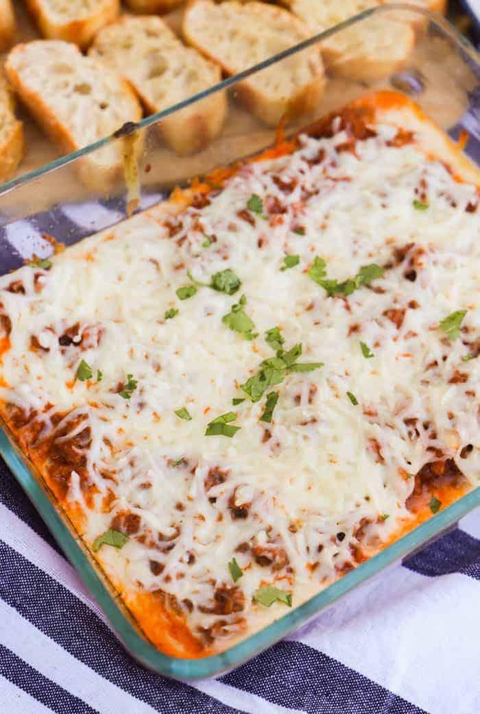 Lasagna Dip in a clear casserole dish