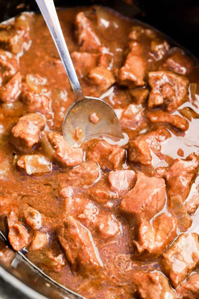 Slow Cooker Beef Tips in the slow cooker