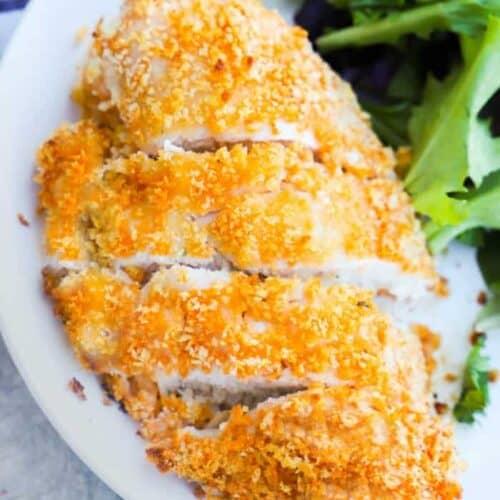 Crispy Baked Buffalo Chicken on a white plate