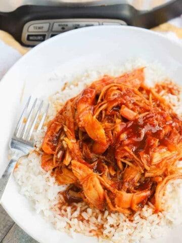 orange chicken on rice
