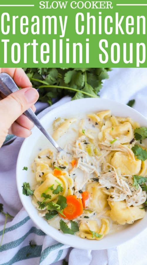 Slow Cooker Creamy Chicken Tortellini Soup