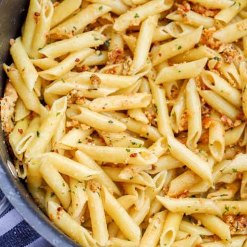 5 Ingredient Parmesan Garlic Penne in a large pot