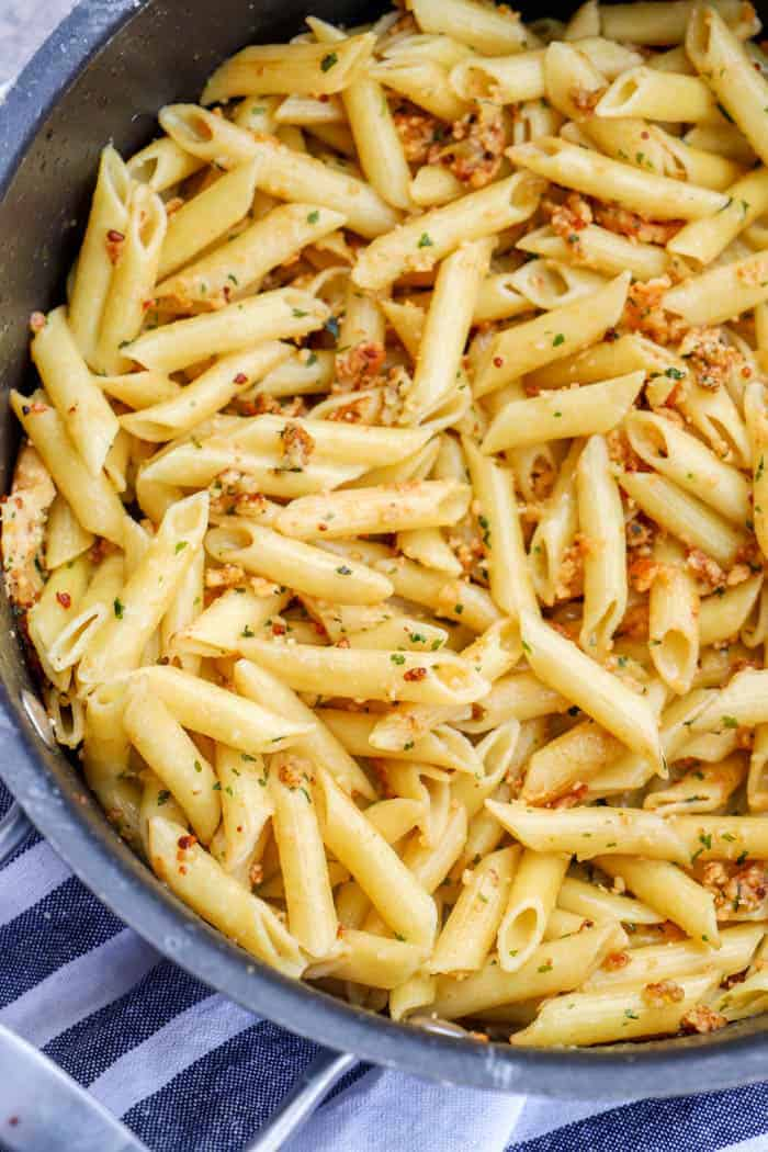 5 Ingredient Parmesan Garlic Penne in a large pot