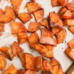 Cinnamon Sugar Roasted Sweet Potatoes featured
