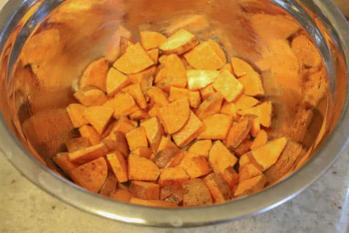 sweet potatoes diced and in a mixing bowl