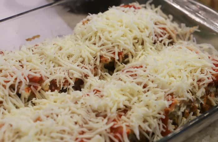 topped with cheese