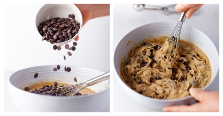 adding chocolate chips