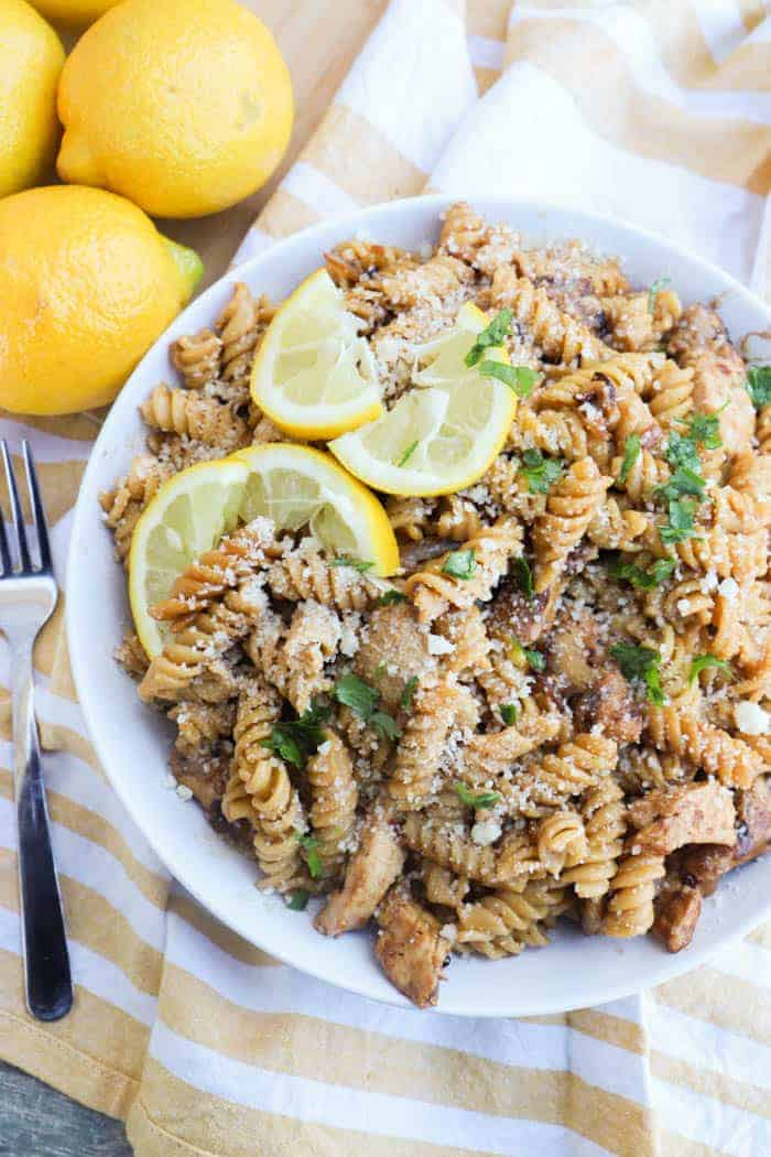 Parmesan Lemon Pasta and Chicken in a white bowl