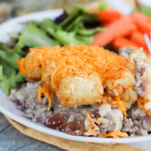 Tater Tot Bacon Cheeseburger Casserole on a plate