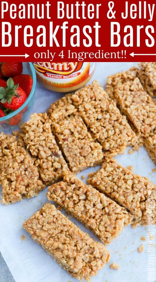 Peanut Butter and Jelly Rice Krispies Breakfast Bar