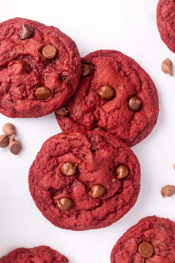 closeup of red velvet cookies