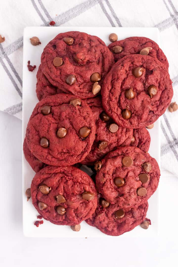 Red Velvet Chocolate Chip Cookie on white serving tray