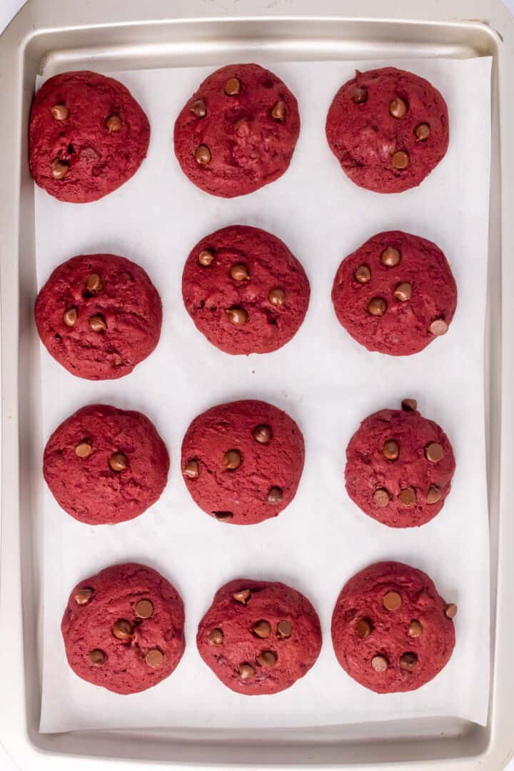baked red velvet cookies