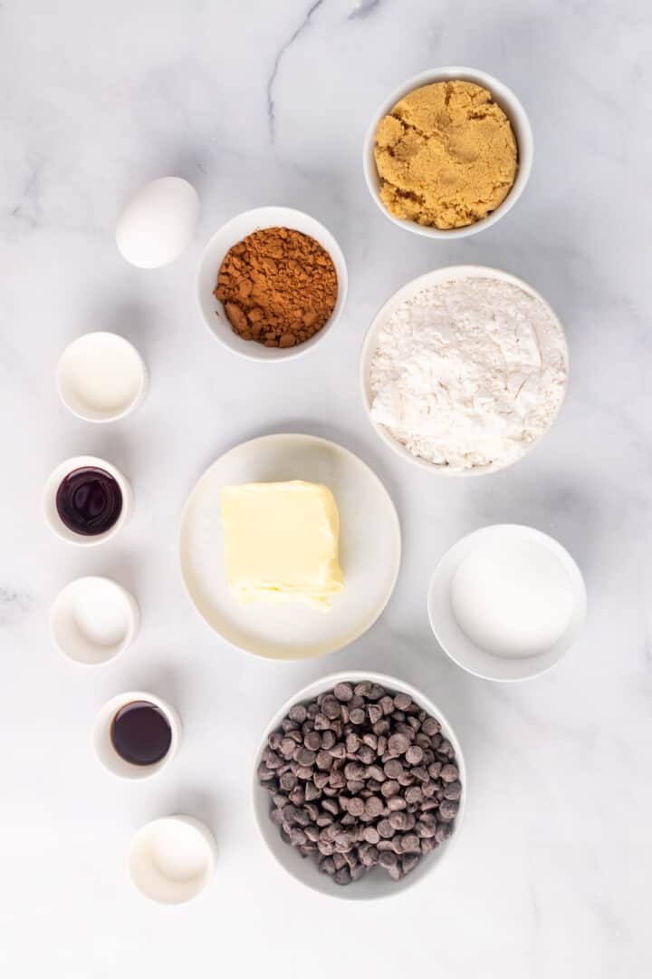 ingredients for red velvet chocolate chip cookies