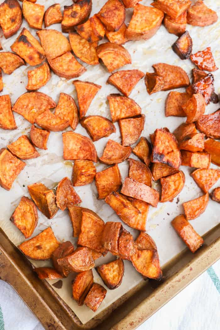 Cinnamon Sugar Roasted Sweet Potatoes on the baking dish