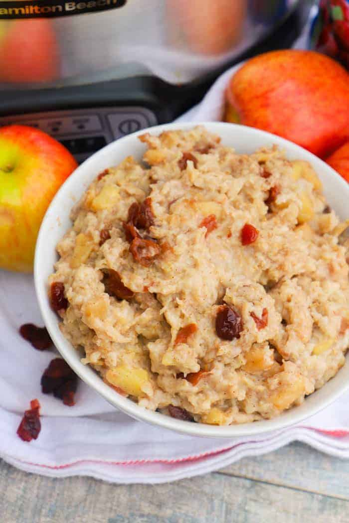 Slow Cooker Cranberry Apple Oatmeal in a white bowl
