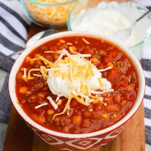 Super Simple Chili in a red bowl