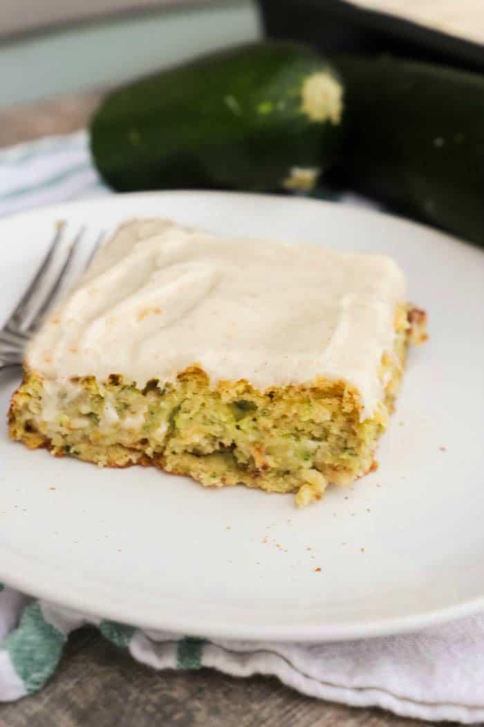 Zucchini Cake on a white plate