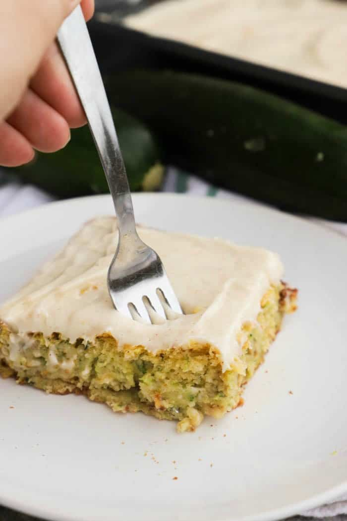 Zucchini Cake with a metal fork
