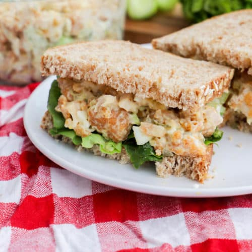 Chick-Fil-A Chicken Salad Recipe on a white plate with a red napkin