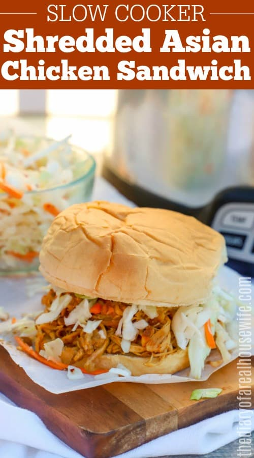 Slow Cooker Shredded Asian Chicken Sandwich