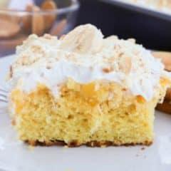 Banana Pudding Poke Cake featured