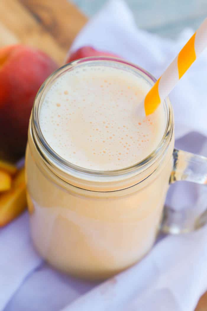 Peach Smoothie with yellow straw