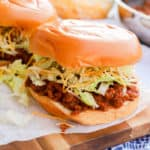 Taco Sloppy Joes on a wooden serving plate
