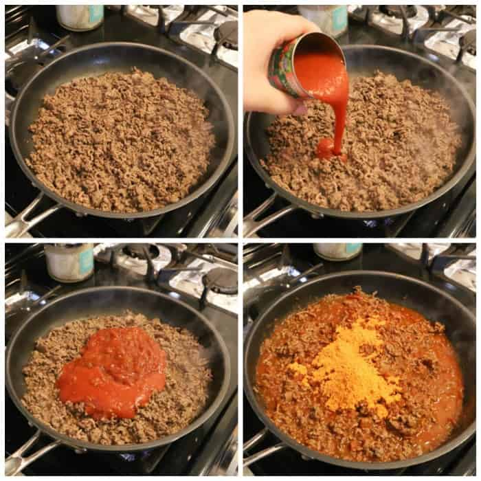 step by step pictures of cooking Taco Sloppy Joes
