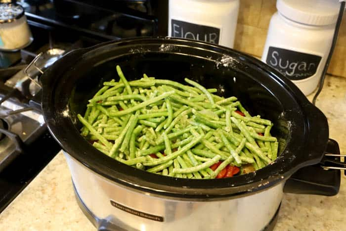 adding green beans to slow cooker