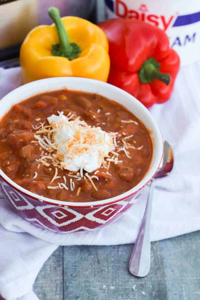 Slow Cooker Turkey Chili in a red bowl
