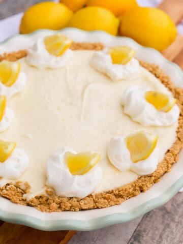 Lemon Pie Recipe in a pie pan