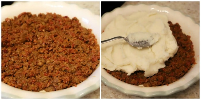 adding beef to pie pan and spooning mashed potatoes