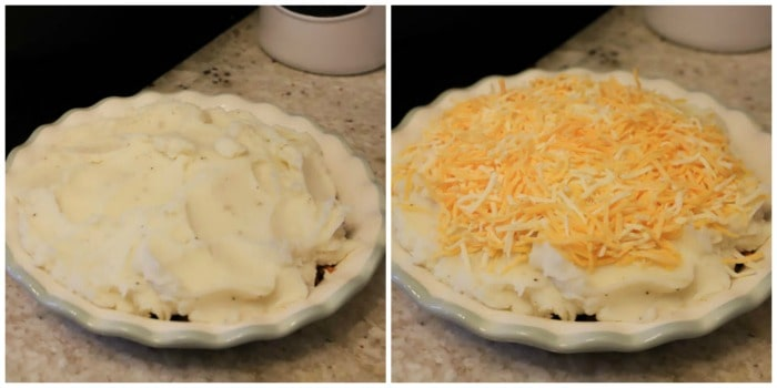 mashed potatoes and then cheese on pie