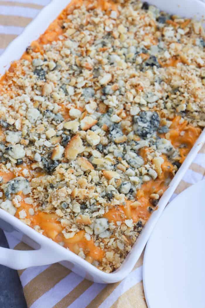 Buffalo Chicken Mac and Cheese in a white casserole dish