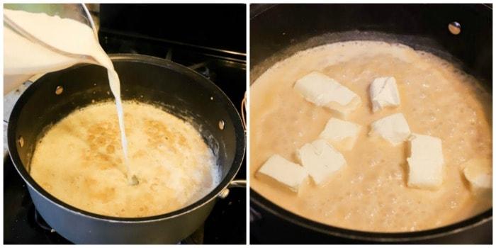 progress pictures adding cream and cream cheese