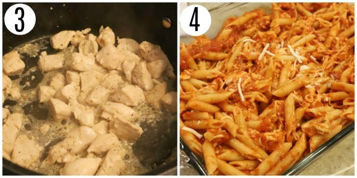 cooking chicken and pasta in casserole dish