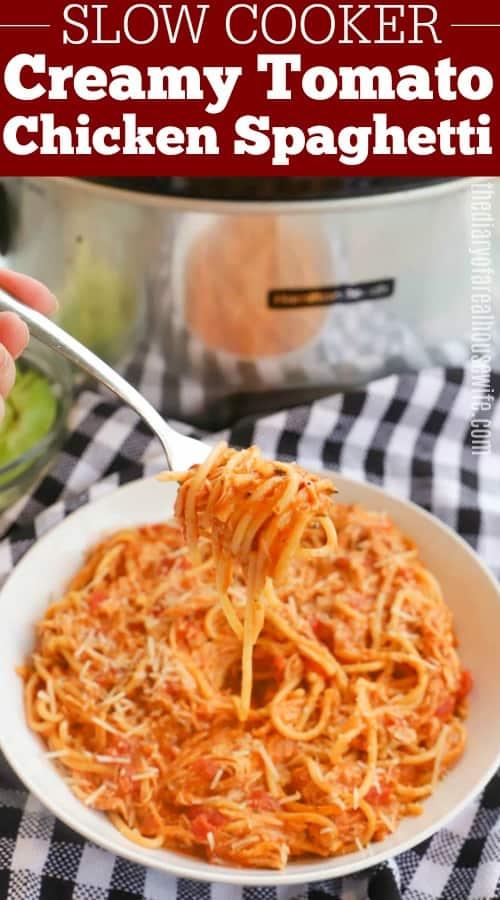Slow Cooker Creamy Tomato Chicken Spaghetti
